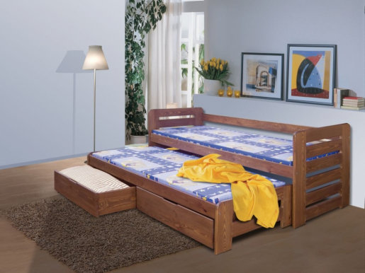 TOMASZ II Bed with mattress Oak