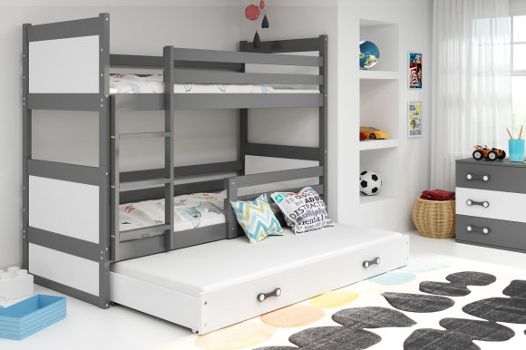 Rico III 200x90 Bunk bed with three mattresses Graphite