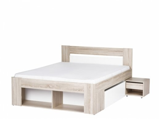 Milo 08+R140 Bed 2-drawers+2-bedside tables