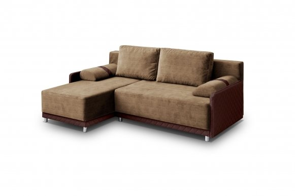 Koniglich Universal L/P Сorner sofa (Brown fabric Cairo 33+Brown eco leather Soft Karo 66)