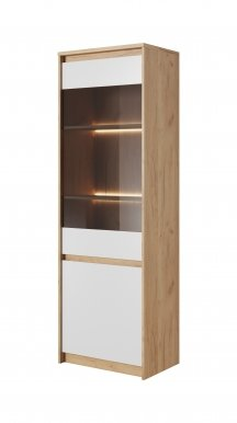 XELO H WIT W Glass-fronted cabinet Craft oak gold/white mat