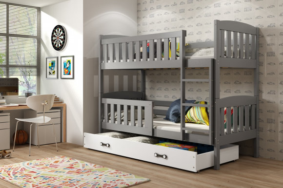 Cubus 2 Bunk bed with mattress 190x80 graphite