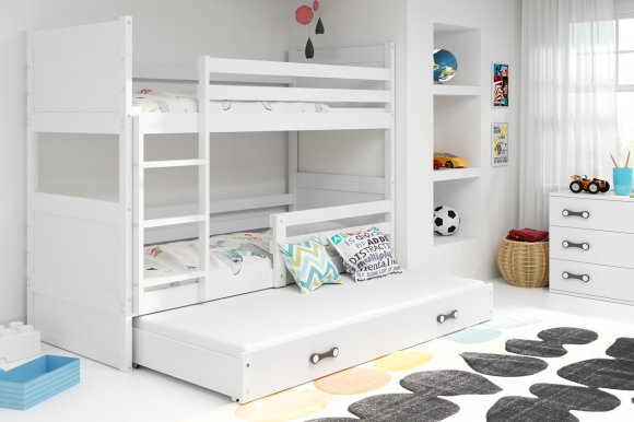 Rico III 160x80 Bunk bed with three mattresses White