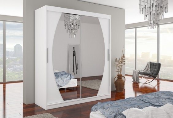 Baltimore Bal01 180 White mat Wardrobe with sliding doors