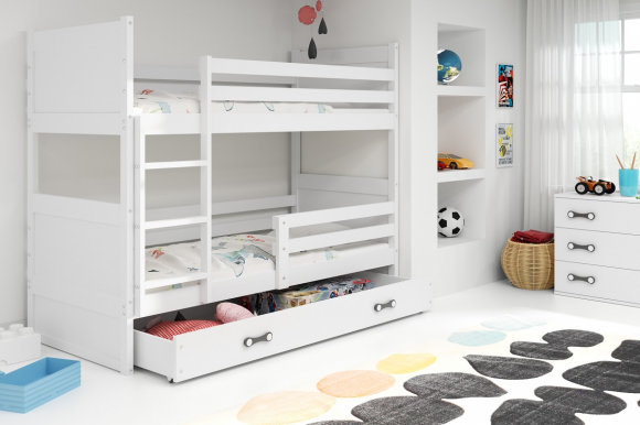 Rico II 200x90 Bunk bed with two mattresses White
