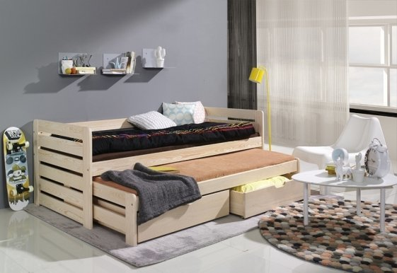 TOMASZ Bed with mattress Pine