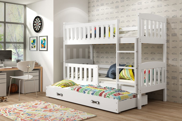 Cubus 3 Triple bunk bed with mattress 200x90 white