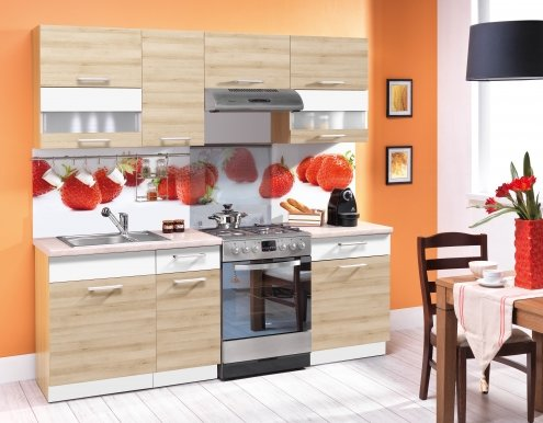 Modena MDF 220 cm Kitchen Beech/MDF white gloss