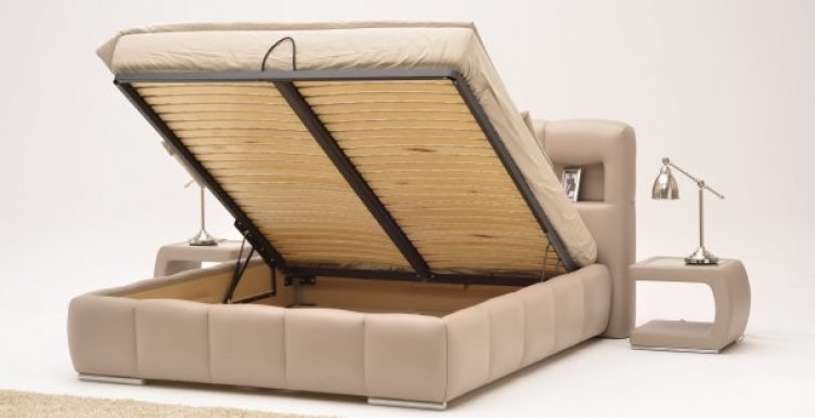 Slatted bed base with lift mechanism with storage box STOLWIT