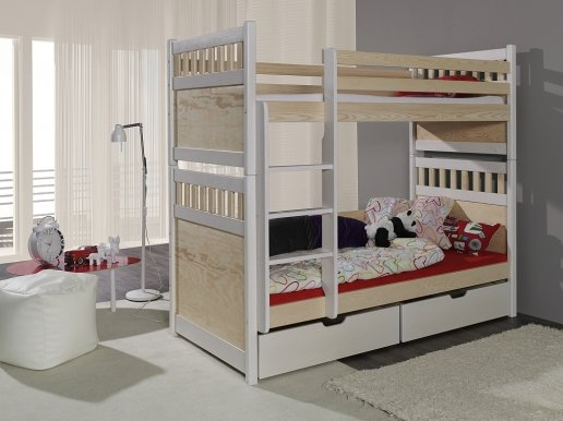 SOLOMON Bunk bed with mattress White/pine