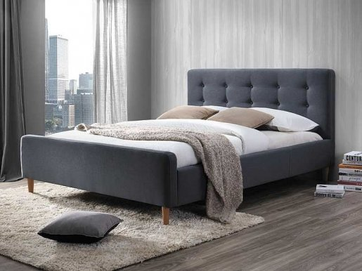 Pinko SZ 160 grey Bed with wooden frame
