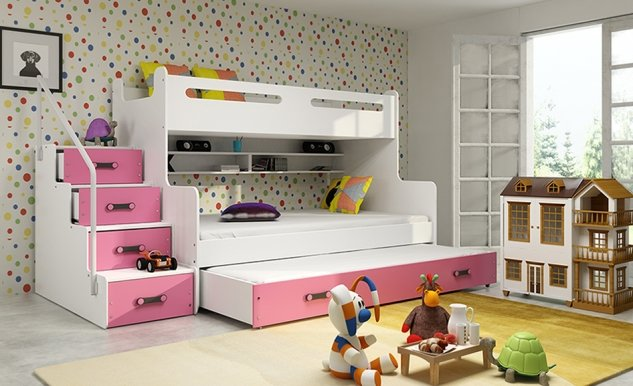 Triple bunk bed with mattress M2019012000081 white/pink