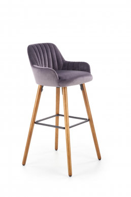 V-CH-H/93- C.P Bar stool (Grey/nut)