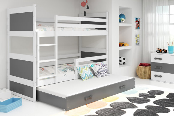 Rico III 200x90 Bunk bed with three mattresses White